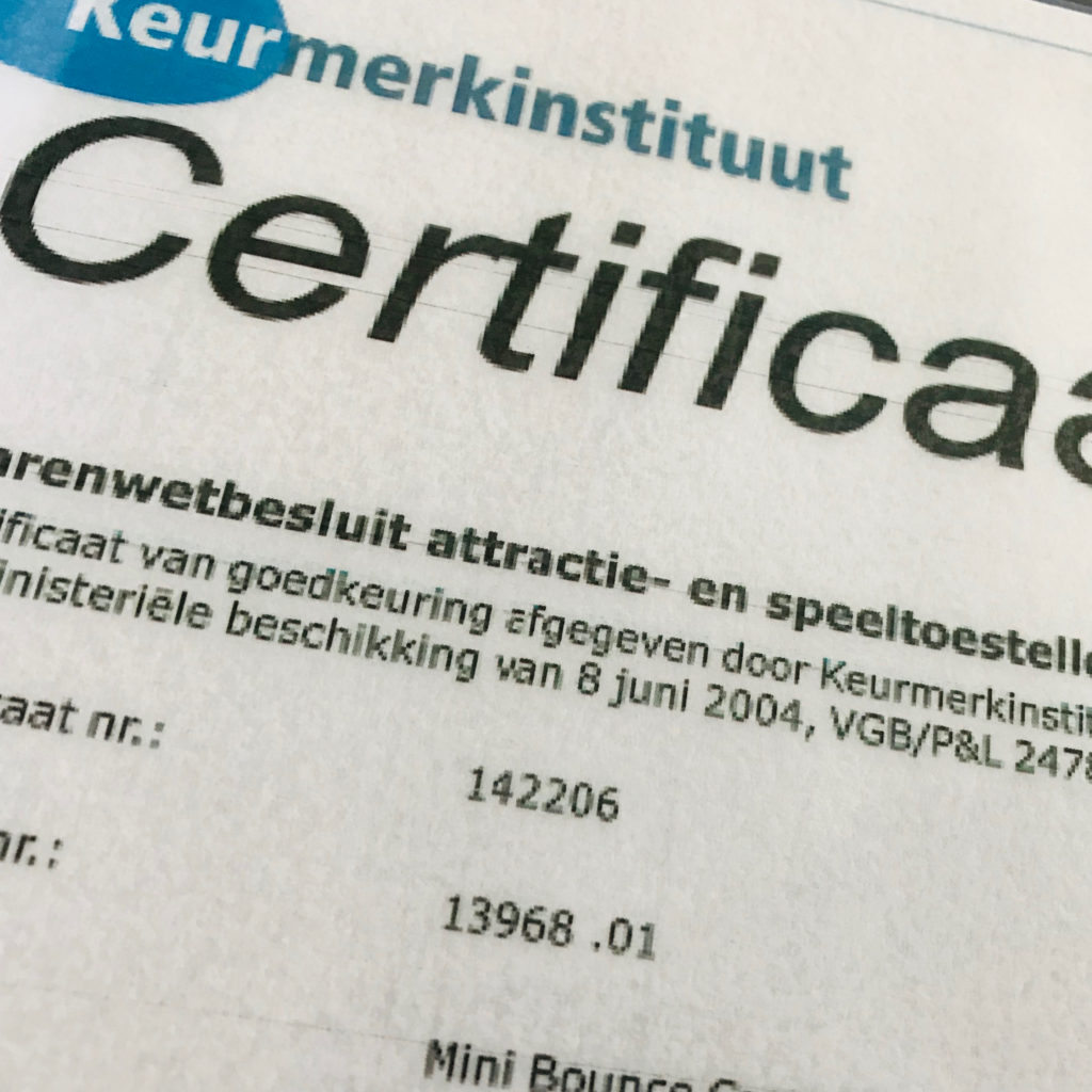 Hüpfburg Din en14960 Zertifikat