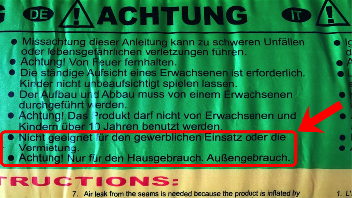 Happy Hop Hüpfburg Warnung